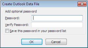 Create Outlook Data File window