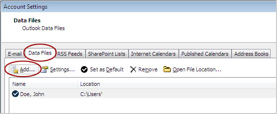 Add Outlook 2010 Data File