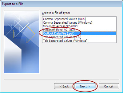 Export to PST file