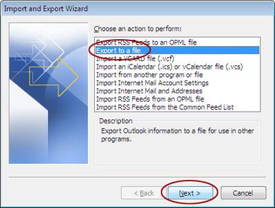 Export file window