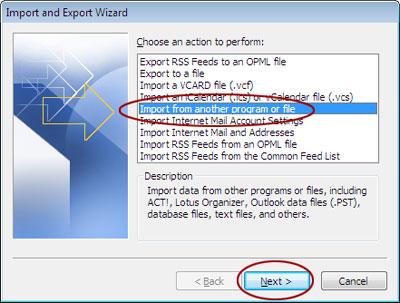 Import a file window