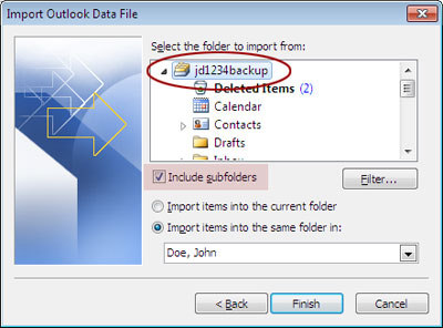 Select Folders to Import