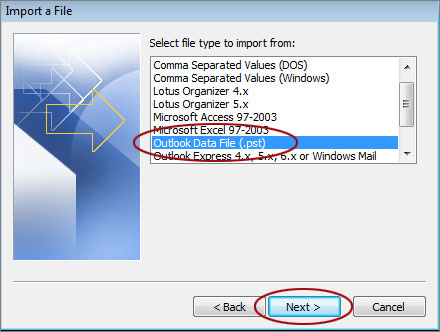 Import a PST File